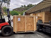 The boxes full of Milea AMS components were unloaded with a forklift