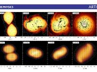 Simulations of nuclear matter in collisions yielding extreme conditions of density and temperature (source: HADES)